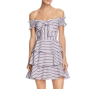 New Lucy Paris Striped Off Shoulder Ruffle Dress
